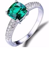 1.82ct Emerald/Gem Engagment/Wedding Solitare Ring Solid 925 Sterling Silver 16