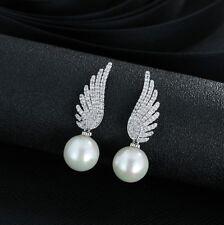 Ohrstecker Ohrring Flügel silber mit Zirkonia mit Perle weiß Sterling Silber 925