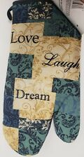 "Printed Kitchen 13"" Large Oven Mitt, LOVE LAUGH DREAM by BH"