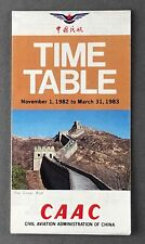 CAAC CHINA WINTER TIMETABLE 1982/83