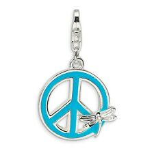 Sterling Silver Enamel Peace Sign with Dragonfly w/Lobster Clasp Charm