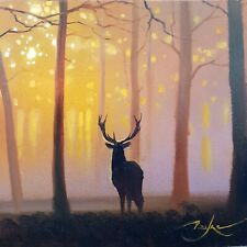 """Original painting woodland stag sunset by BEN PAYNE Art 6""""×6"""" oil on panel + COA"""