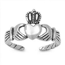 Sterling Silver 925 Usa Seller Adjustable Claddagh Toe Ring Face Height 9 mm