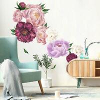 Home Peony Rose Flowers Wall Sticker Art Nursery Decals Kids Bed Room Decor