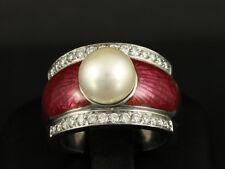 Schwerer Brillant Emaille Ring mit Perle  30,5g 750/- Weißgold Ringweite 58