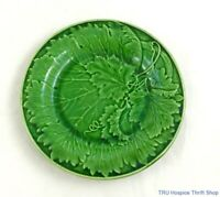 Set of Four Vintage Green Majolica Grape Leaves on the Vine Salad Plates