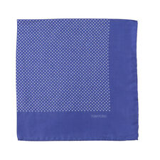 New $180 TOM FORD Blue and White Pin Dot Print Silk Pocket Square