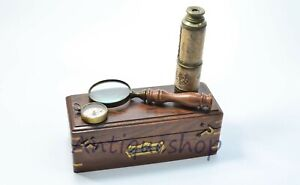 Vintage antique brass set of 3 gift item compass,telescope & magnifying glass