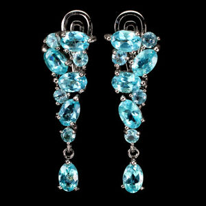 Oval Neon Blue Apatite 6x4mm 14K White Gold Plate 925 Sterling Silver Earrings