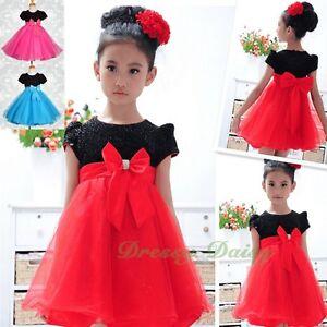 Diamante Wedding Flower Girl Short Sleeve Dresses Birthday Party Size 2-7 FG156