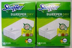 2 boxes 16ct Swiffer Sweeper Dry Cloths Refills w/ Febreze Citrus Zest scent