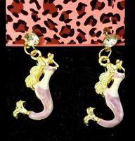 Purple Enamel Cute Mermaid Gold Crystal Betsey Johnson Women Post  Earrings