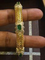 7,40 Cts Runde Brilliant Cut Diamanten Smaragd Armband Bracelet In 585 14K Gold