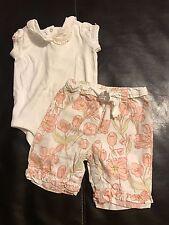 Gymboree PINK PETALS tulip print capri pants collared bodysuit top outfit 6 9