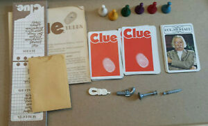 Cards, Pad, Tokens, Envelope & some Weapons from 1972 CLUE game