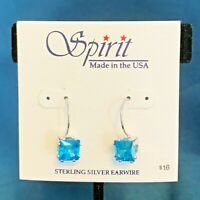 Spirit Earrings - Sterling Silver Earwire - Faceted Aquamarine Cubic Zirconia