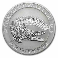 New  2014 Australian Silver Saltwater Crocodile 1oz Bullion Coin