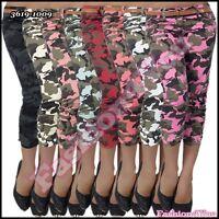 Women's Camouflage Shorts Sexy Ladies Cropped Capri Pants Size 8,10,12,14 UK
