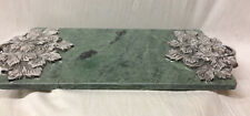 "MADISON AVENUE 16"" GREEN MARBLE CHEESE BOARD WITH PEWTER LEAF DESIGN IN BOX"