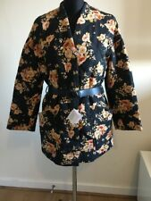 Zara Floral Puffer Coat Jacket Multicoloured Black With  Belt BNWT Size XS-S