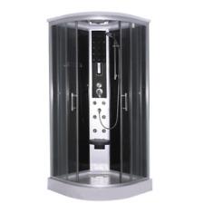 Cabina doccia idromassaggio QUICK-LINE semicircolare ZEPPELIN BLACK 90x90x215 cm