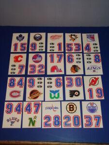 2 Sets 1987 Topps Sticker Hockey Helmet 21 Card Team Logos per Set Lot NHL