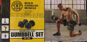 Brand New Gold's Gym 40lb Adjustable Dumbbell Weight Set cast iron Ships Now!