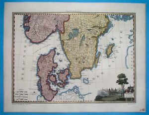 1812 NICE ORIGINAL MAP NORWAY SWEDEN DENMARK Skandinavia Oslo Stockholm