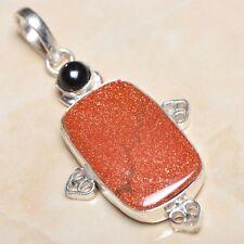 "Handmade Sun Sitara Sparkling Jasper 925 Sterling Silver Pendant 2.25"" #P05306"