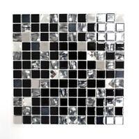 Mosaik Fliese selbstklebend Glasmosaik Edelstahl schwarz 200-4CM26_f  10 Matten