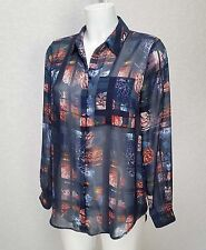 M&S Marks Spencer Navy Blue Floral sheer chiffon Classic collar Shirt Blouse 8