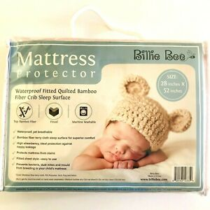 Quilted Bamboo Fiber Waterproof Fitted Crib Mattress Protector 28 x52 Billie Bee