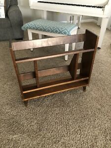 Mid Century Modern Furniture Used Book Shelf Tapered Legs Small Book Case Wood