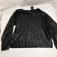 LRL Ralph Lauren Womens Shiny Shimmer Blouse Black Dolman Sleeve Boat Neck L New