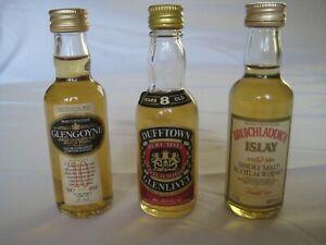Miniature 50ml Whisky Bottles - Glengoyne, Bruichladdich Islay & Glenlivet.