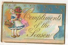 Compliments of the Season, Christmas Girl with Roses Vintage 1911 Postcard