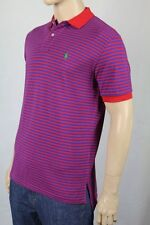 Ralph Lauren Large L Red Blue Stripe Mesh Polo Shirt Classic Fit NWT