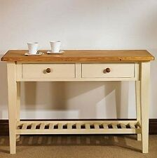 Hampton cream painted pine furniture console hall table with shelf