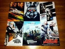 """THE FAST AND FURIOUS SET OF 6 PP SIGNED 12""""X8"""" POSTERS VIN DIESEL & PAUL WALKER"""