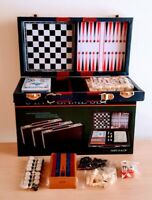 6-in-1 Game Set Dominoes Chess Checkers Cribbage Backgammon cribbage deck cards