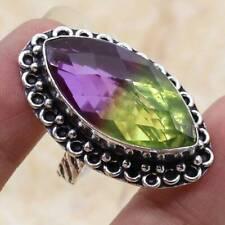 Ametrine 925 Silver Plated Handmade Gemstone Ring of US Size 7.5 Ethnic Gift