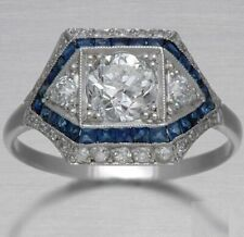Rond Diamond 14K White Gold Fn Vintage Antique Blue Sapphire Engagement Ring 2Ct