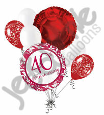 7 pc Happy 40th Anniversary Ruby Balloon Decoration Party Married Party Wedding