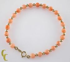 "14k Yellow Gold Bead and Round Coral Bead Bracelet w/ Lobster Clasp 6.75"" Long"