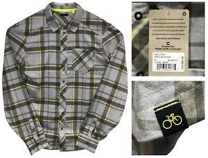 PEARL IZUMI ROVE LS Mens Soft Plaid Dark Olive / Fog Long Sleeve Shirt M NWT $80