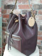 JASPER CONRAN FAUX LEATHER PURPLE/BEIGE DUFFEL SLOUCH BUCKET SHOULDER BAG
