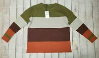 THML Womens Sweater Long Sleeve Striped Color Block Size Medium Style TMK983
