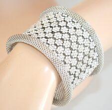 BRACCIALE ARGENTO donna rigido strass elegante cristalli cerimonia bracelet 50X