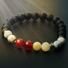 Man's Black Scrub Lava Agate Buddha Beads Unique Multi-Colors Bangle Bracelets
