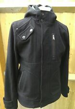 Burtons Mens Black Wool Blend Hooded Stud & Zip Fastened Coat Size M Chest 38-41